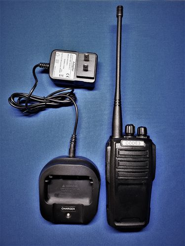 CODE 3 Dual Band UHF/VHF 2-Way Radio (with charger, li-ion battery, antenna, belt clip, headset)